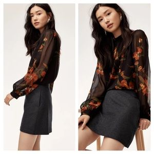 Wilfred Essonne Wool Mini Skirt Dark Grey 0
